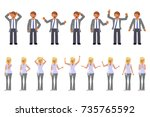 man and woman expression.... | Shutterstock . vector #735765592