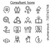 consultant   expert icon set in ... | Shutterstock .eps vector #735765748