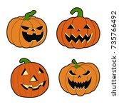 halloween pumpkin vector | Shutterstock .eps vector #735766492