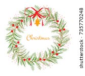 wreath of the christmas and new ... | Shutterstock .eps vector #735770248