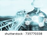 double exposure of engineer or... | Shutterstock . vector #735770338