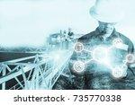 double exposure of engineer or...   Shutterstock . vector #735770338
