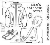 vector outline hand drawn set... | Shutterstock .eps vector #735780532