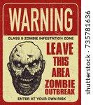poster zombie outbreak. sign... | Shutterstock .eps vector #735781636