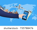smartphone online booking with... | Shutterstock .eps vector #735788476