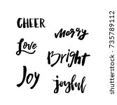 christmas card with calligraphy ... | Shutterstock .eps vector #735789112