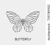 abstract polygon butterfly.... | Shutterstock .eps vector #735789502