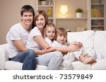 family with children at home in ... | Shutterstock . vector #73579849