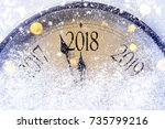 countdown to midnight. retro... | Shutterstock . vector #735799216