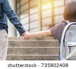 girl kid  elementary student ...   Shutterstock . vector #735802408
