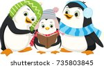 cute penguins singing christmas ... | Shutterstock .eps vector #735803845