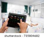 doctor online checking patient...   Shutterstock . vector #735804682