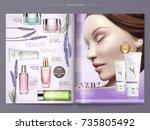 cosmetic magazine template ... | Shutterstock .eps vector #735805492