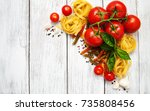 italian food ingredients on a... | Shutterstock . vector #735808456