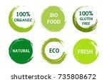 healthy food labels.vector... | Shutterstock .eps vector #735808672
