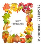 thanksgiving greeting card.... | Shutterstock .eps vector #735809752