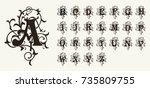 vintage set capital letters ... | Shutterstock .eps vector #735809755