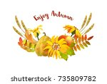vector autumn decorative border ... | Shutterstock .eps vector #735809782