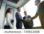 business people shaking hands ... | Shutterstock . vector #735812008