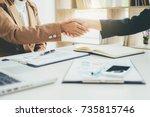 business handshake and business ... | Shutterstock . vector #735815746