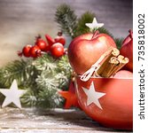 rustic christmas background... | Shutterstock . vector #735818002
