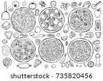 hand drawn outline pizza set on ... | Shutterstock .eps vector #735820456