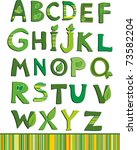 vector green floral alphabet   Shutterstock .eps vector #73582204