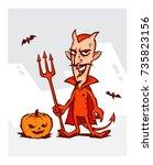 illustration of the devil for... | Shutterstock .eps vector #735823156