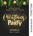 christmas party poster template.... | Shutterstock .eps vector #735827368