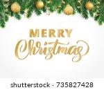 merry christmas hand written... | Shutterstock .eps vector #735827428