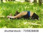 paschimottanasana. sporty fit... | Shutterstock . vector #735828808