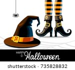 halloween background. witches... | Shutterstock . vector #735828832