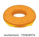 bread bun donut or cheese bagel ... | Shutterstock .eps vector #735828976