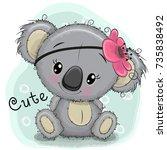 cute drawing koala girl...   Shutterstock .eps vector #735838492