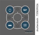 vector illustration of 4 food... | Shutterstock .eps vector #735839026