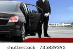 chauffeur waiting for passenger   Shutterstock . vector #735839392
