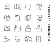 maps icon set vector... | Shutterstock .eps vector #735840562