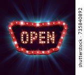shining retro billboard.... | Shutterstock .eps vector #735840892