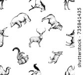 seamless pattern of hand drawn... | Shutterstock .eps vector #735841435