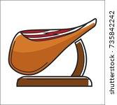huge fat piece of jamon on... | Shutterstock .eps vector #735842242