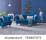 turquoise sofa classic living... | Shutterstock . vector #735847372
