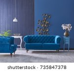 turquoise sofa classic living... | Shutterstock . vector #735847378