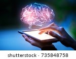 close up of hands using tablet... | Shutterstock . vector #735848758