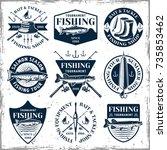 fishing set of nine vector... | Shutterstock .eps vector #735853462