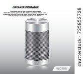 speaker portable and stereo...   Shutterstock .eps vector #735853738