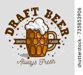 draft beer logo label design ... | Shutterstock .eps vector #735853906