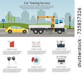 tow truck city road assistance... | Shutterstock .eps vector #735857326