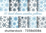 snowflake patterns vector... | Shutterstock .eps vector #735860086