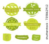 healthy food icons  labels.... | Shutterstock .eps vector #735862912