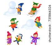 kids  children doing winter... | Shutterstock .eps vector #735866326